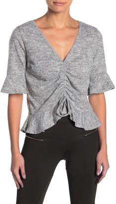 Dee Elly 3/4 Sleeve Fuzzy Knit Top