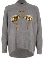River Island Womens Dark Grey sequin flamingo turtle neck jumper