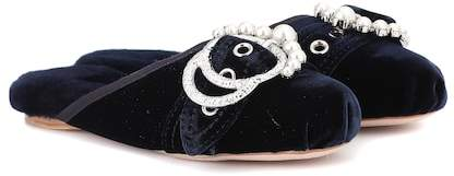 Miu Miu Embellished velvet slippers