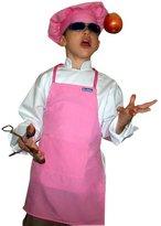 Small Children Kids Soft Pink Chef Set Apron & Adjustable Hat Quality Lite