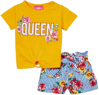 Girls Luv Pink Girls' Casual Shorts gold - Gold 'Queen' Ring-Accent Tee & Blue Floral Shorts - Infant, Toddler & Girls