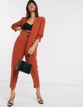 Stradivarius paperbag pants with belt in orange