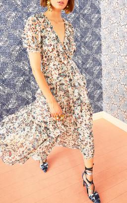 Ulla Johnson Delphine Short Sleeve Silk Midi Dress