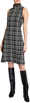 St. John Broken Shadow Plaid Knit High-Neck Dress with Leather Trim Detail