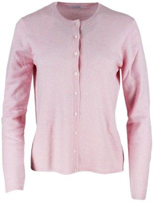 Malo Rebecca Cardigan Sweater With Long Sleeve Cashmere Buttons