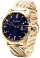 English Laundry Men's Watch EL7596G236-474 Gold Tone Blue Dial, Mesh Bracelet