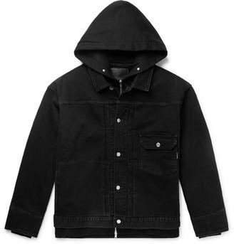 Mastermind World Oversized Layered Printed Denim And Cotton-Jersey Hooded Jacket