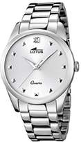 Lotus Women's Quartz Watch with White Dial Analogue Display and Silver Stainless Steel Bracelet 18142/1