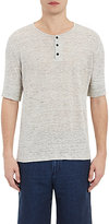 Vince MEN'S LINEN JERSEY SHORT-SLEEVE HENLEY-LIGHT GREY SIZE S