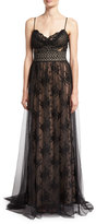 Jovani Sleeveless Lace Slip Sheer Overlay Gown, Black Nude