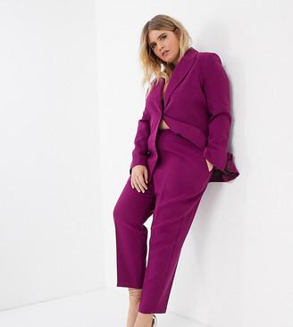 ASOS DESIGN Curve pop slim suit pants in purple