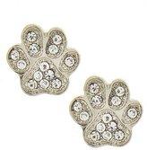 Fresh Bejeweled Paw Print Post Earrings