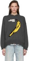 R 13 Grey The Velvet Underground Edition Oversized Crewneck