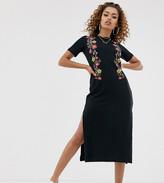 Asos DESIGN Petite printed floral midi t-shirt dress