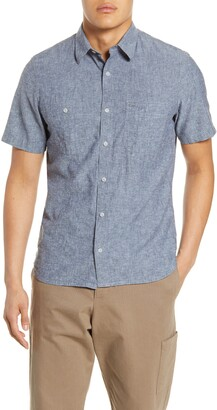 1901 Short Sleeve Linen Blend Chambray Button-Up Shirt