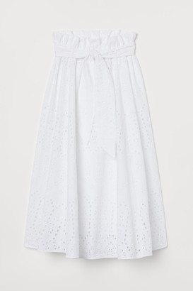 H&M Eyelet Embroidery Skirt - White