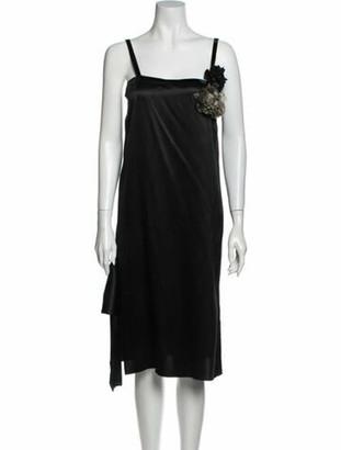Lanvin Square Neckline Midi Length Dress Black