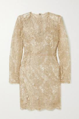 Dolce & Gabbana Metallic Chantilly Lace Mini Dress - Gold