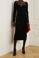 Christopher Kane - Glittered Velvet Midi Dress - Black