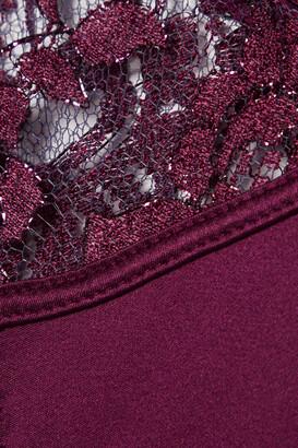 Coco de Mer Sakura Cutout Satin-trimmed Metallic Lace Briefs - Burgundy