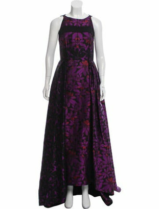 J. Mendel Jacquard Evening Dress Violet