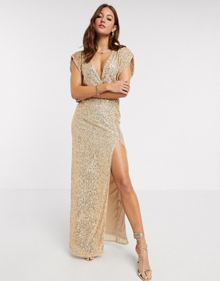 TFNC sequin wrap front maxi dress in gold