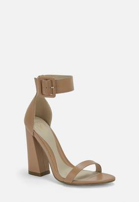 Missguided Taupe Double Strap Buckle Block Heels