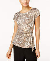 MSK Printed Side-Tie Top