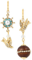 Betsey Johnson Gold-Tone Blue and Clear Crystal Mismatch Drop Earrings