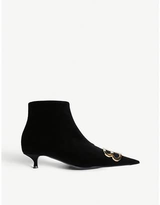 Balenciaga Ladies Black BB Embellished Velvet Ankle Boots