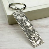 Nicola Crawford Personalised Sterling Silver Photo Filmstrip Keyring