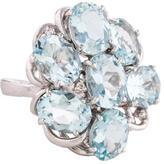 Ring 18K Aquamarine Cluster