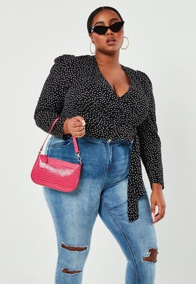 Missguided Plus Size Black Polka Dot Puff Sleeve Wrap Blouse
