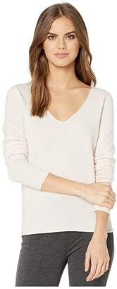 Majestic Filatures Cashmere Long Sleeve V-Neck Sweater (Rose Poudre) Women's Sweater