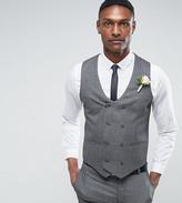 Asos Tall Wedding Skinny Suit Waistcoat In Slate Grey Woven Texture