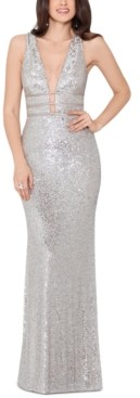 Xscape Evenings Sequinned V-Neck Gown