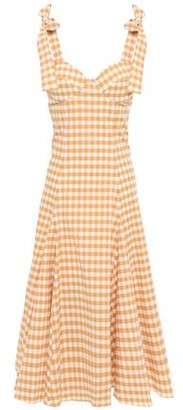 Paper London Mona Gingham Cotton-blend Seersucker Midi Dress