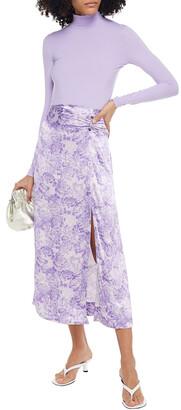 Ganni Ruched Floral-print Satin Midi Skirt