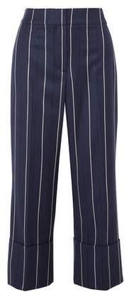 Oscar de la Renta Cropped Striped Wool-blend Wide-leg Pants