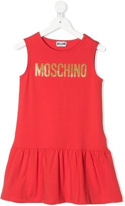 MOSCHINO BAMBINO Sequinned Logo Dress