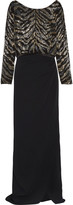 Roberto Cavalli Wrap-effect sequined georgette and crepe gown