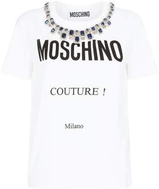 Moschino Embellished Slogan T-Shirt