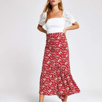 River Island Womens Red floral maxi skirt