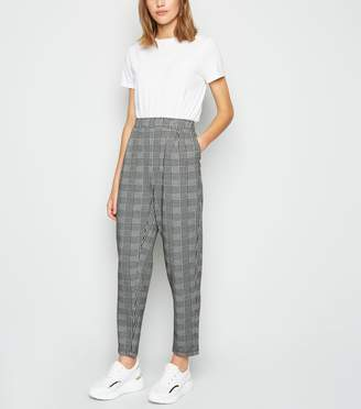 New Look Light Check Jersey Tapered Trousers