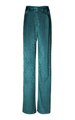 Sally LaPointe Belted Satin Straight-Leg Pants