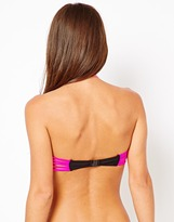 South Beach Natalie Bandeau Bikini Top With Contrast Neon Pink Strap