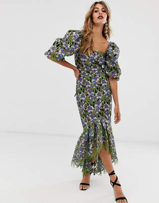 Asos Edition EDITION embroidered cutwork milkmaid dress
