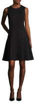 Magaschoni Solid Crewneck Flared Dress