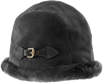 Eric Javits Vail Water Repellent Suede Cloche with Faux Fur Lining