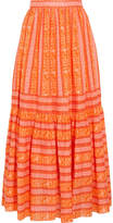Tory Burch Tiered Printed Cotton-poplin Maxi Skirt - Orange